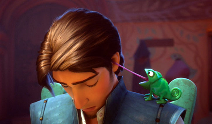 Flynn Rider and Blaise the chameleon