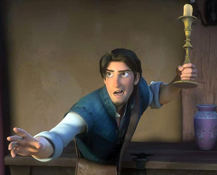 Flynn Rider wielding a candlestick