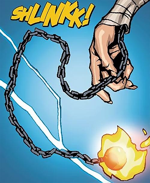 Foe Dog (Iceman ally) (Marvel Comics)'s burning meteor hammer