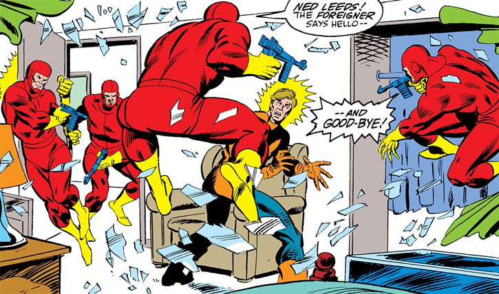 Foreigner (Marvel Comics) - red-clad assassins about to kill Hobgoblin Ned Leeds