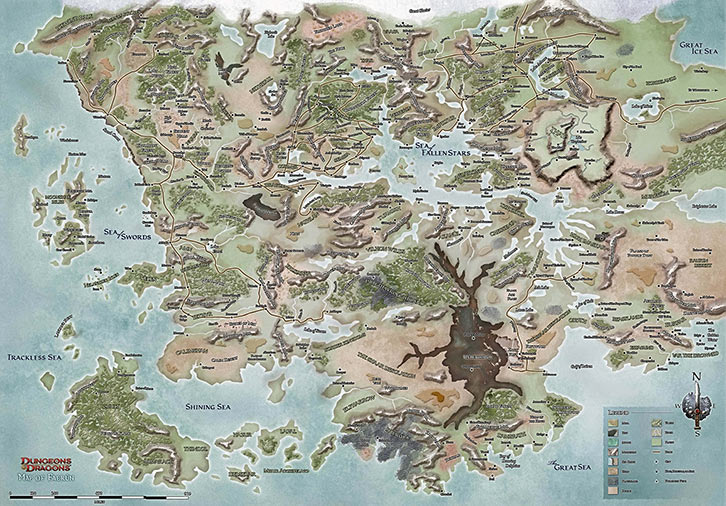 Map of the forgotten realms D&D dungeons and dragons