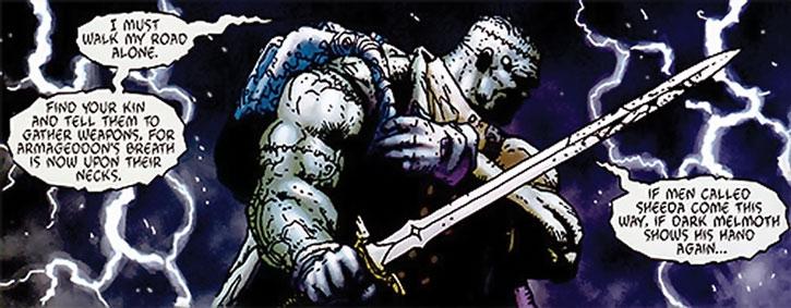 Frankenstein wielding a sword