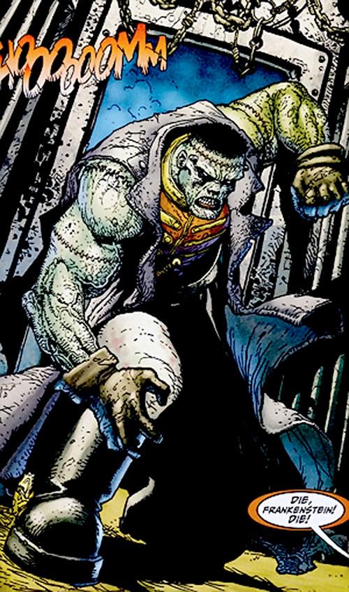 Frankenstein (7 Soldiers) (DC Comics) crashing through a door