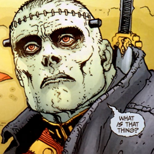 Frankenstein (7 Soldiers) (DC Comics) face closeup