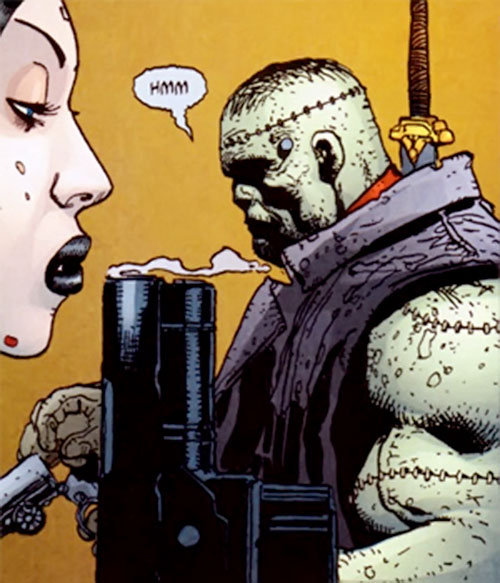 Frankenstein (7 Soldiers) (DC Comics) and the Bride reloading