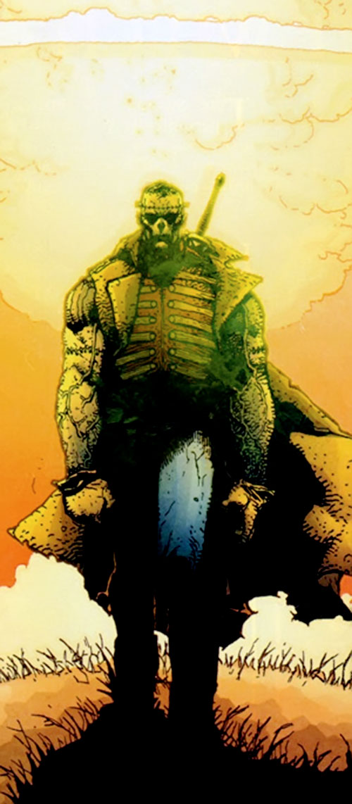 Frankenstein (7 Soldiers) (DC Comics) walking away from an explosion