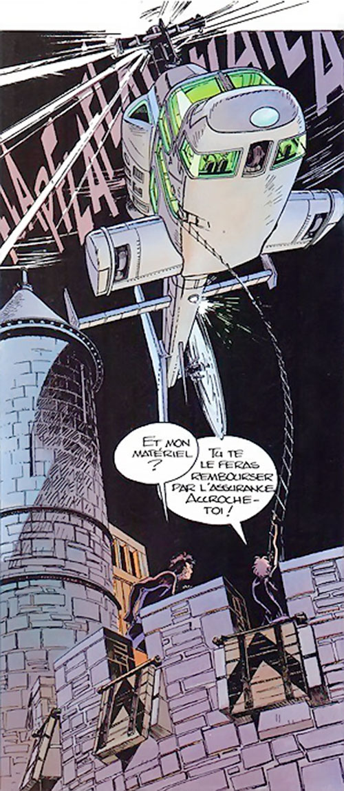 Freddy Kaplan (Largo Winch comics) flying an helicopter over a medieval castle