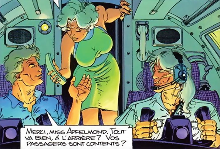 Freddy Kaplan and Largo Winch in the cockpit