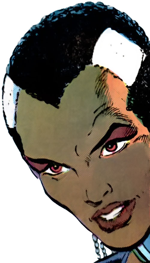Frenzy of the Alliance of Evil (X-Factor enemy) (Marvel Comics) face closeup