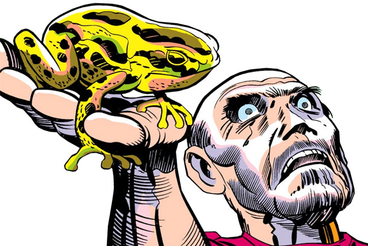 A corpse holds one of the Frogs, by Kirby