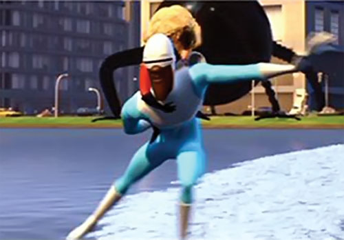 Frozone (The Incredibles) skating across water