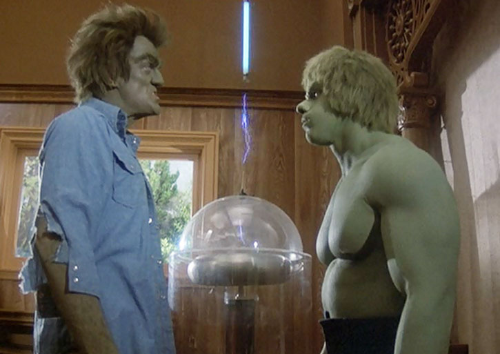 Dell's creature (Dick Durock) towers over the Incredible Hulk (Lou Ferrigno)