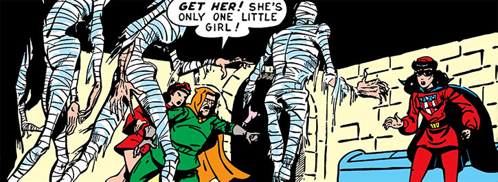 Future Man (Marvel / Timely comics 1940s) vs. Miss America, with mummies
