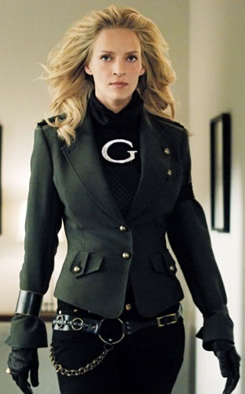 G-Girl (Uma Thurman in My Super Ex-Girlfriend) with a dark green fitted vest