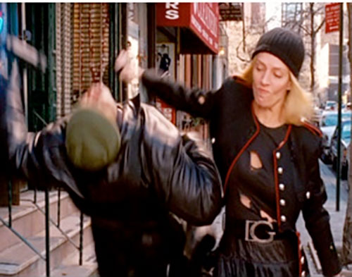 G-Girl (Uma Thurman in My Super Ex-Girlfriend) backhanding a thug