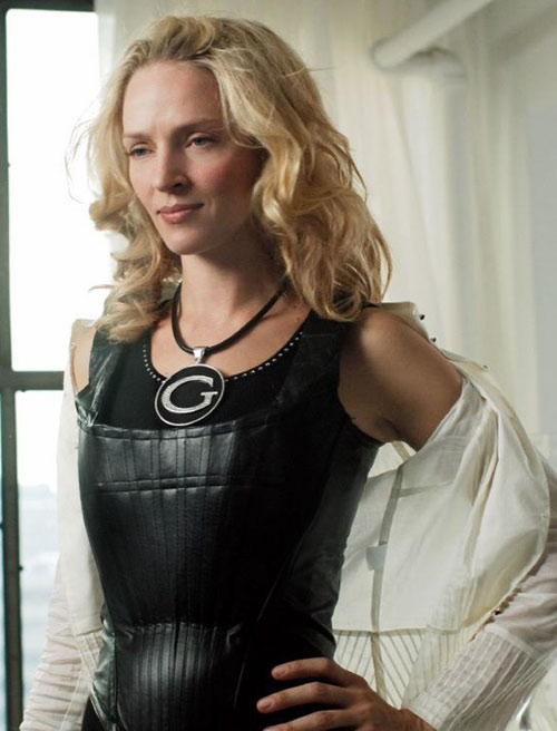 G-Girl (Uma Thurman in My Super Ex-Girlfriend) with a black leather corset