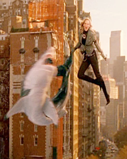 G-Girl (Uma Thurman in My Super Ex-Girlfriend) flying and throwing a shark