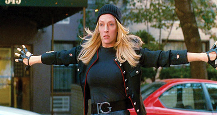 G-Girl (Uma Thurman) about to body-block bullets