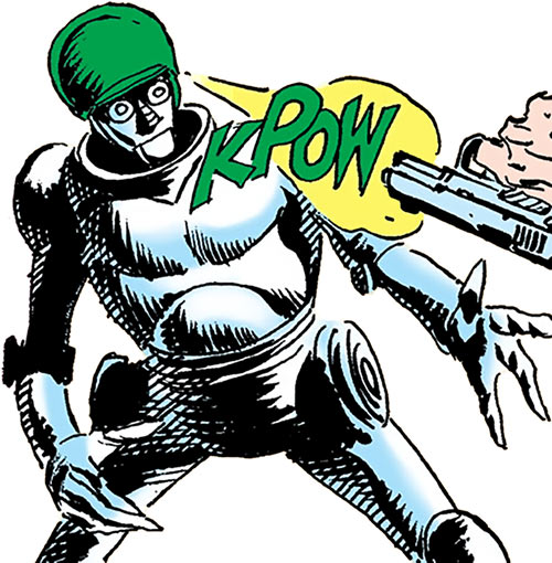 G.I. Robot Mac (DC Comics) (War That Time Forgot) dodging a gunshot