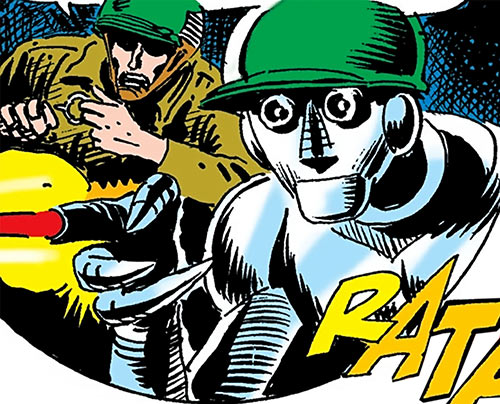 G.I. Robot Mac (DC Comics) (War That Time Forgot) shooting from its finger