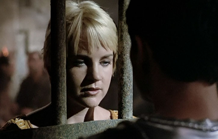 Gabrielle (Renee O'Connor) behind bars