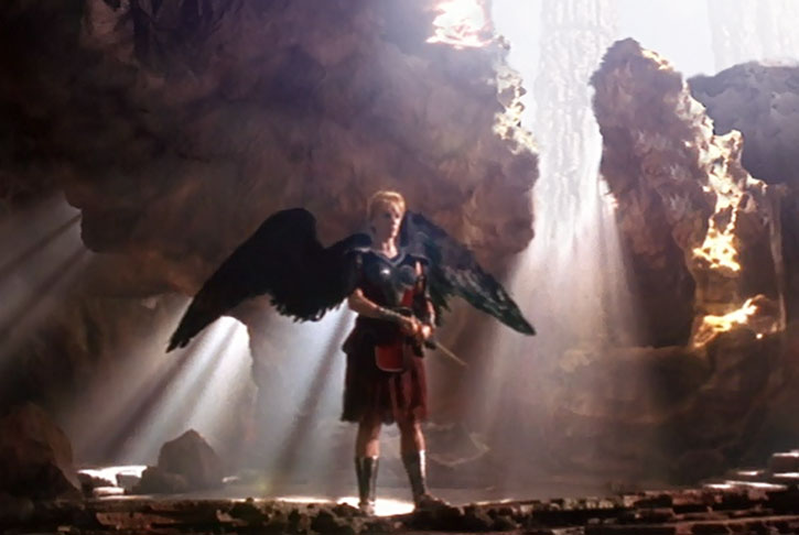 Gabrielle (Renee O'Connor) with black angelic wings