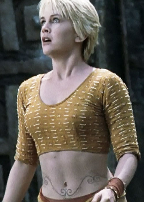 Gabrielle (Renee O'Connor in Xena) yellow top and belly tattoos