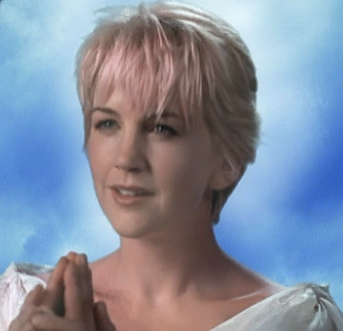 Gabrielle (Renee O'Connor in Xena) joined hands pink hair