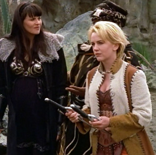 Gabrielle (Renee O'Connor in Xena) with a white and brown coat