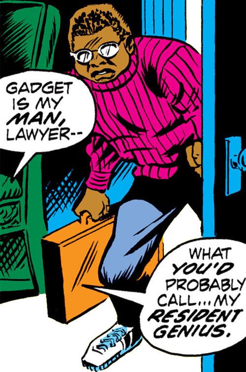 Gadget (Luke Cage character) (Marvel Comics) opening a door