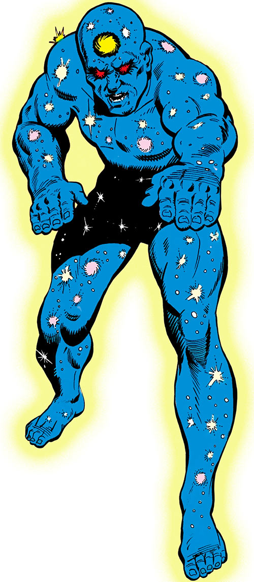 The Galactic Golem (DC Comics) glowing over a white background