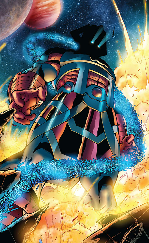 Galactus (Marvel Comics) in a big explosion absorbing energy stores