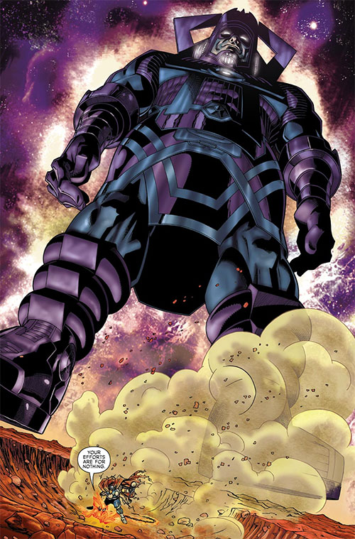 Galactus (Marvel Comics) towering over Beta Ray Bill