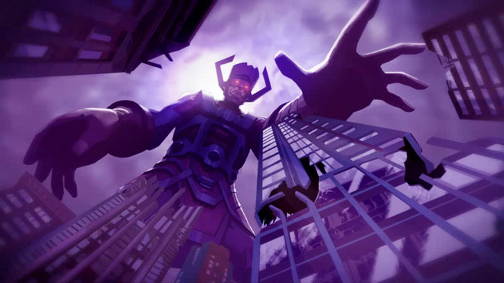 Galactus towering over high-rises (Marvel Heroes illustration)