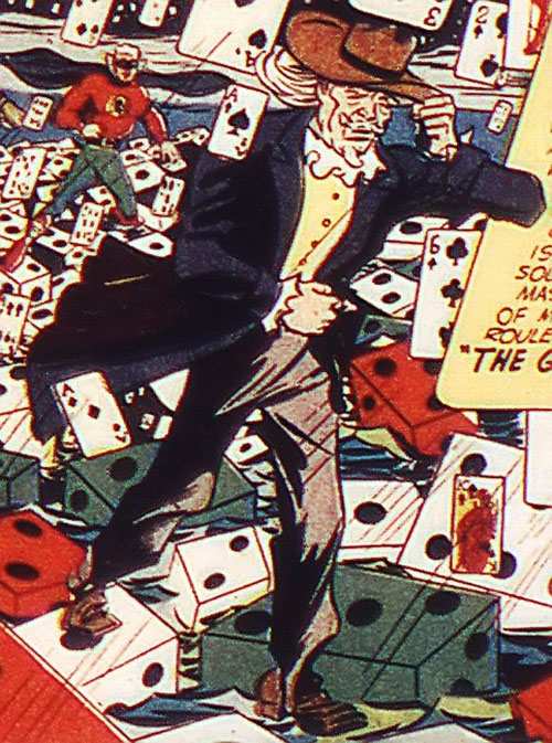 The Gambler (Stephen Sharpe) and Green Lantern in a 1940s splash page