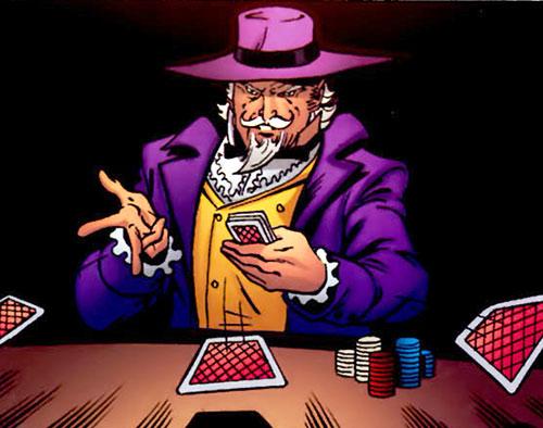 The Gambler (Stephen Sharpe) dealing cards