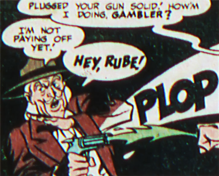 The Gambler with his pepperbox pistol vs. Green Lantern (Alan Scott)