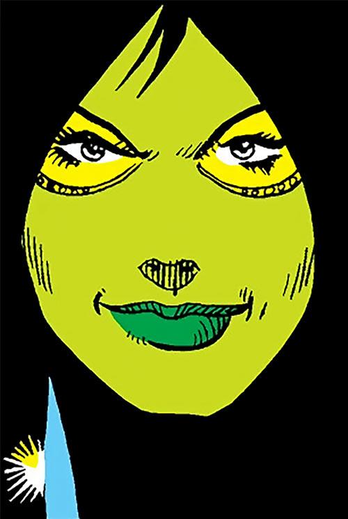 Gamora (early) face closeup (Marvel Comics) hidden shadows dagger