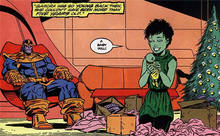 Gamora as a little girl, with Thanos