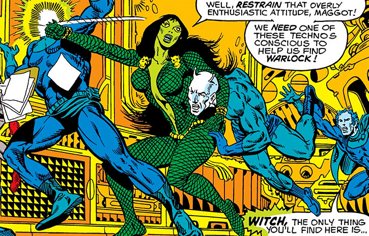 Gamora fights humanoids (Marvel Comics) (Jim Starlin)