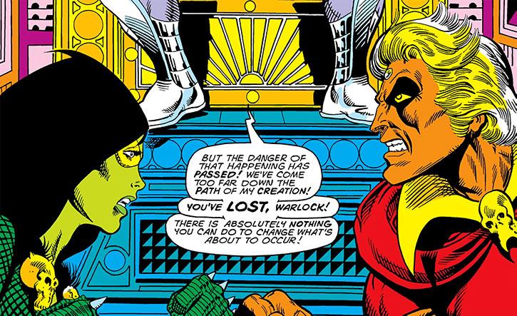 Gamora facing Adam Warlock (Marvel Comics) (Jim Starlin)