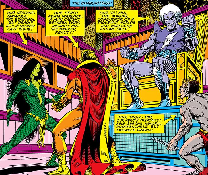Gamora, Adam Warlock and Pip face the Magus (Marvel Comics)
