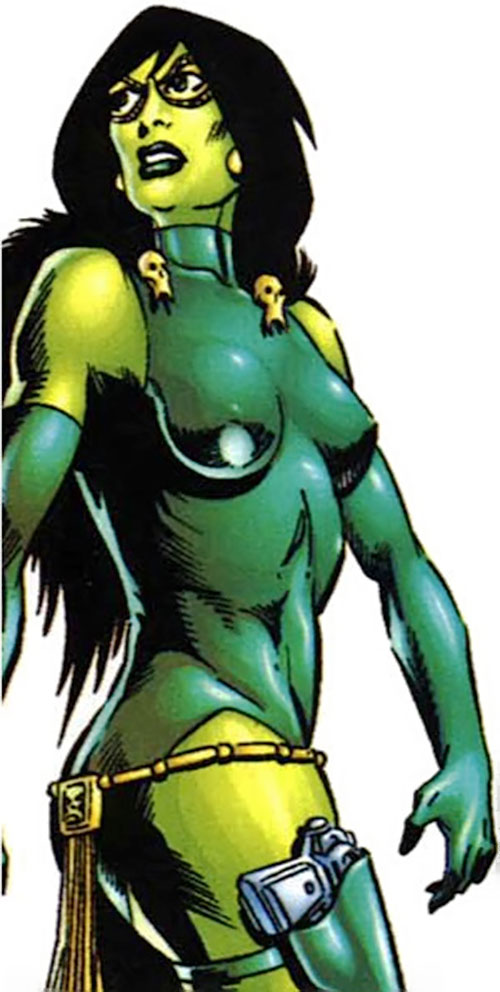 Gamora of the Infinity Watch (Marvel Comics) with the one-piece green swimming suit costume