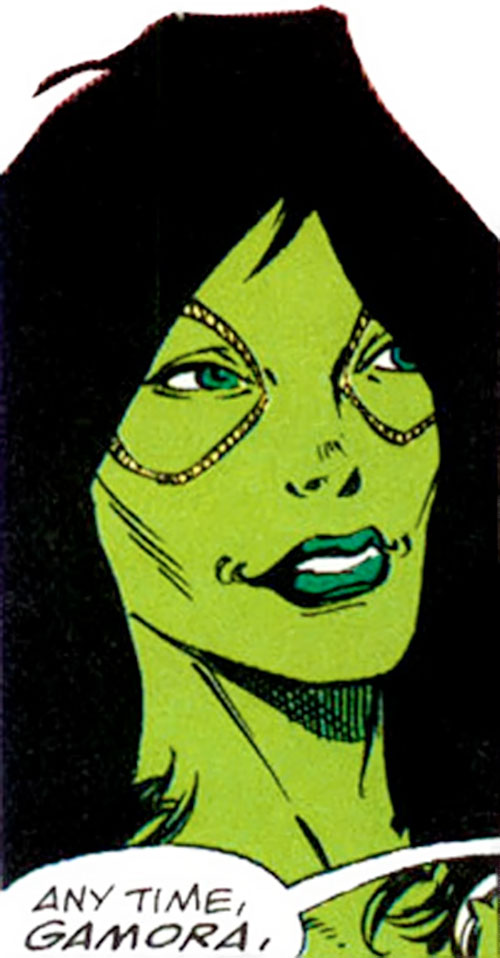 Gamora of the Infinity Watch (Marvel Comics) happy face closeup