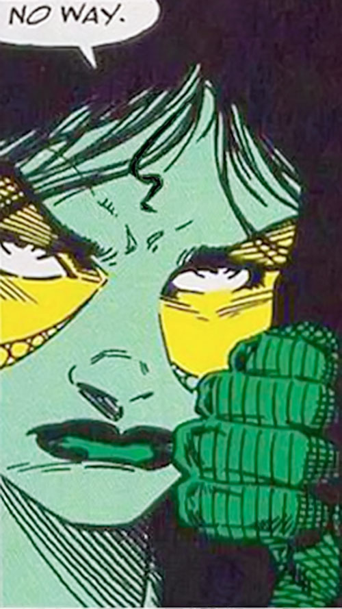 Gamora of the Infinity Watch (Marvel Comics) angry face closeup