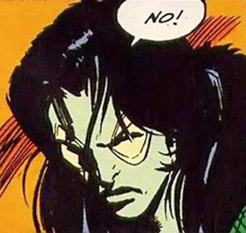 Gamora of the Infinity Watch (Marvel Comics) sulking face closeup