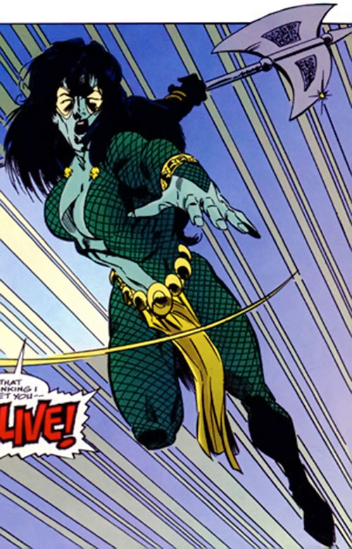 Gamora of the Infinity Watch (Marvel Comics) leaping to attack with an axe