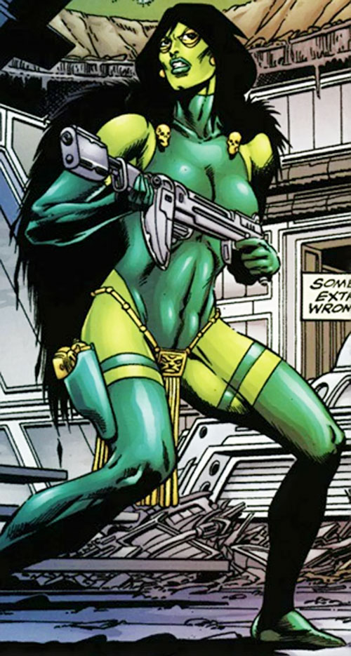 Gamora of the Infinity Watch (Marvel Comics) with an energy carbine