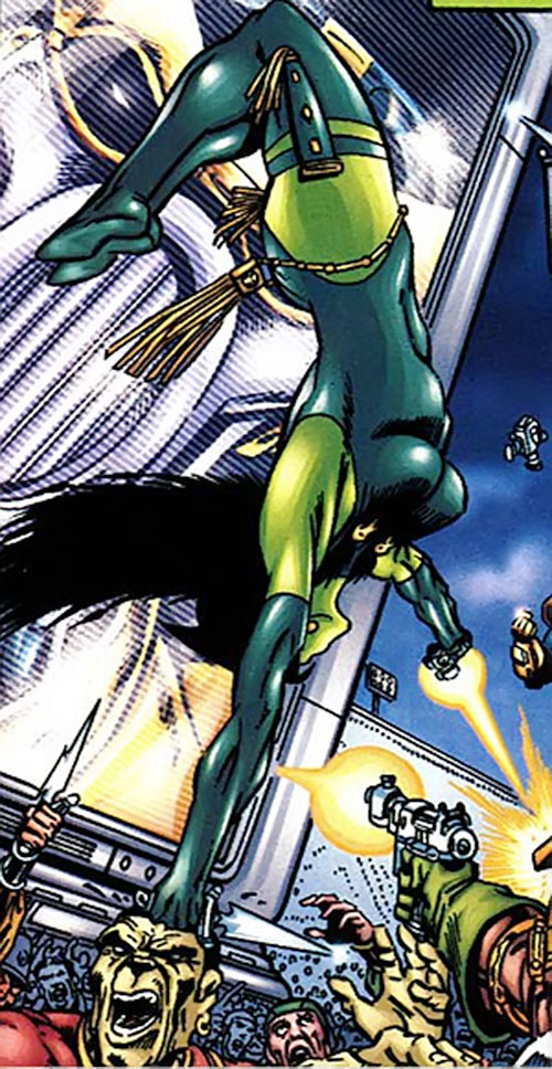 Gamora of the Infinity Watch (Marvel Comics) acrobatically fighting a crowd with pistol and dagger