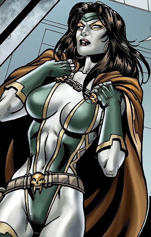 Gamora during the Annihilation (Marvel Comics) adjusting her cloak
